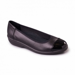 FEARNE Ladies Leather Extra Wide (2E) Pumps Black Patent
