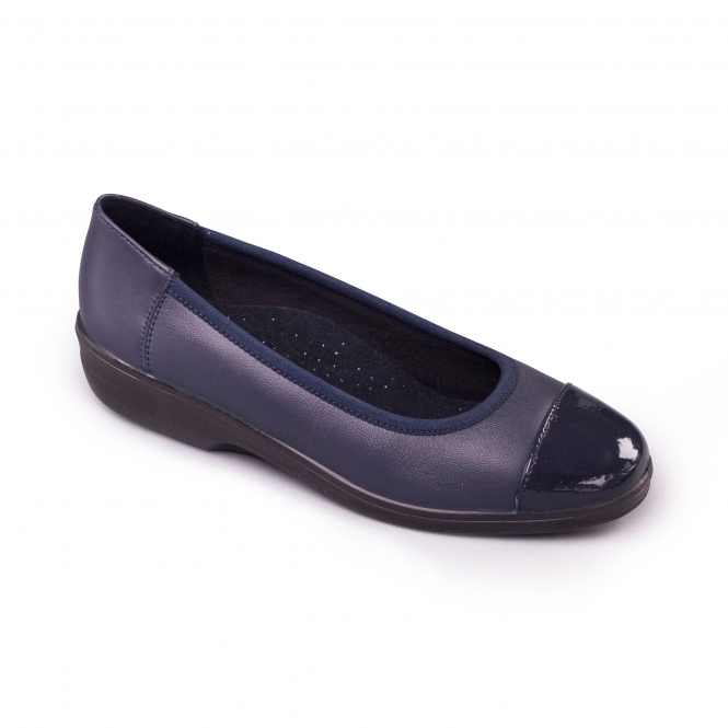 c8a366df2f4 Padders FEARNE Womens Leather Wide Flat Shoes Blue Patent