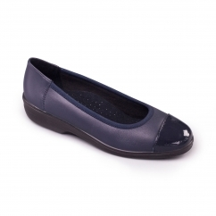 FEARNE Ladies Leather Extra Wide (2E) Pumps Navy Patent
