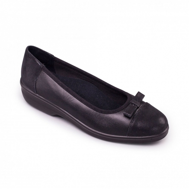Padders FELICITY Ladies Leather EE Extra Wide Ballerina Shoes Black