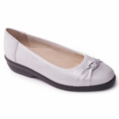 FIONA Ladies Leather Extra Wide (2E) Pumps Silver