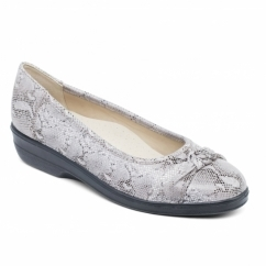 FIONA Ladies Leather Extra Wide (2E) Pumps Taupe