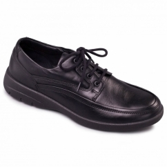 FIRE Mens Leather (F Fit) Comfort Shoes Black