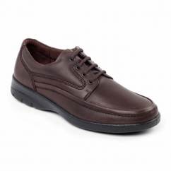 FIRE Mens Leather (F Fit) Comfort Shoes Brown