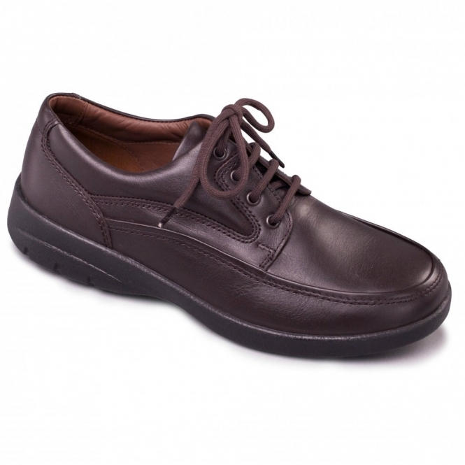 Padders FIRE Mens Leather Lace-Up Comfort Shoes Brown
