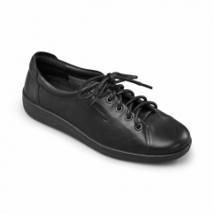 GALAXY Ladies Leather Wide E Fit Shoes Black
