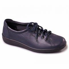 GALAXY Ladies Leather Wide E Fit Shoes Navy