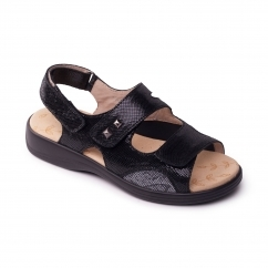 Padders GEM Ladies Leather Super Wide (4E) Sandals Black Reptile