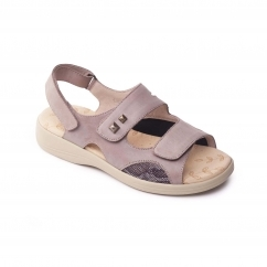Padders GEM Ladies Leather Super Wide (4E) Sandals Taupe
