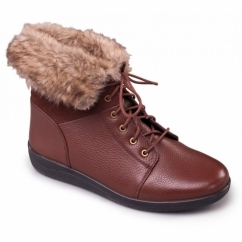 GINA Ladies Leather Wide (E) Fit Faux Fur Trim Boots Tan