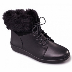 GINA Ladies Leather Wide Fit Faux Fur Trim Boots Black