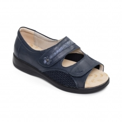 Padders GRACE Ladies Leather Super Wide (4E) Sandals Navy