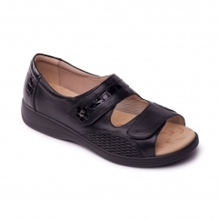 GRACE Ladies Leather Super Wide EEEE Fit Touch Fasten Sandals Black