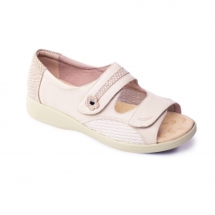 GRACE Ladies Leather Super Wide EEEE Fit Touch Fasten Sandals Oyster