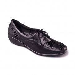 GRETA Ladies Leather Extra Wide (2E) Shoes Black
