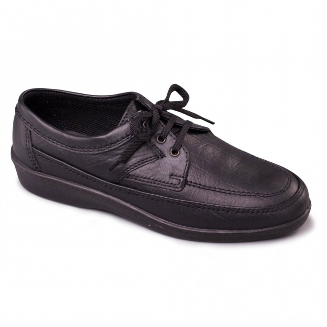 Padders GRIFF Mens Leather Wide Fit Lace Up Casual Shoes Black