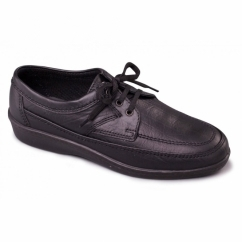GRIFF Mens Leather Wide G Fit Lace Up Casual Shoes Black