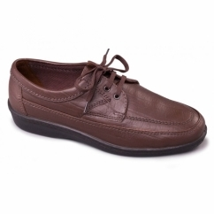 GRIFF Mens Leather Wide G Fit Lace Up Casual Shoes Brown