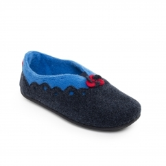 Padders HANNAH Ladies Felt Extra Wide (2E/3E) Mule Slippers Navy /Blue