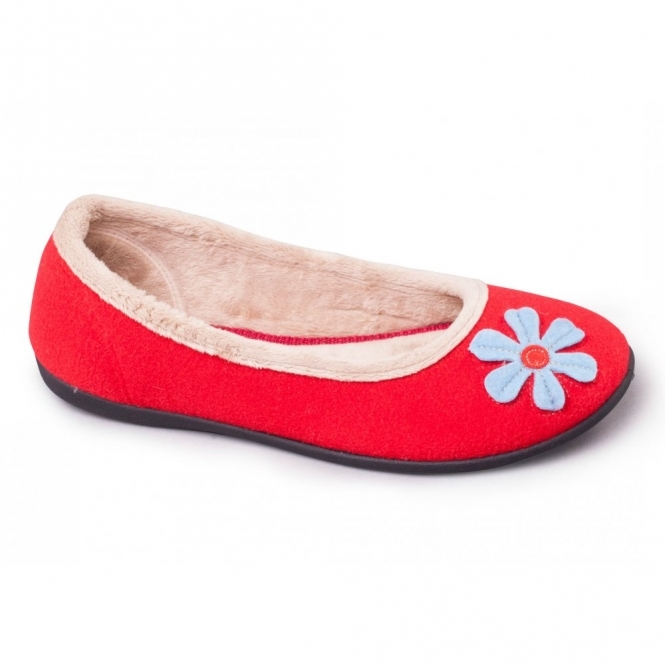 Padders HAPPY Ladies Felt Wide (E) Fitting Ballerina Slippers Red