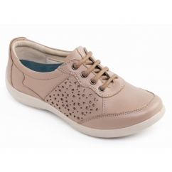 HARP Ladies Leather Lace Fastening Casual Shoes Biscuit