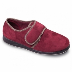 HARRY Mens Microsuede Velcro Wide Fit Full Slippers Burgundy