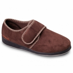 HARRY Mens Microsuede Velcro Wide Fit Full Slippers Dark Brown