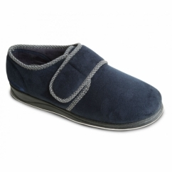 HARRY Mens Microsuede Velcro Wide Fit Full Slippers Navy