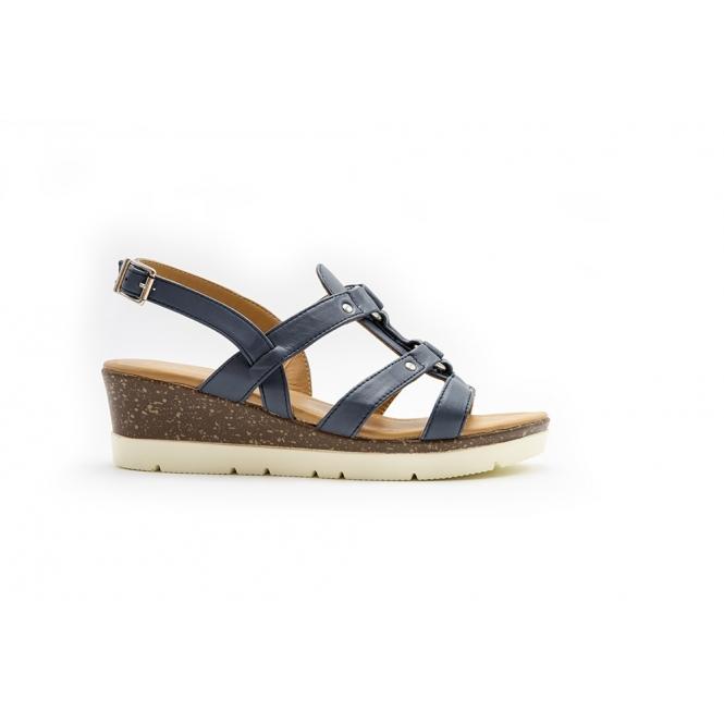514977dbea5 HEATHER Ladies Leather Wide (E Fit) Wedge Heel Sandals Navy