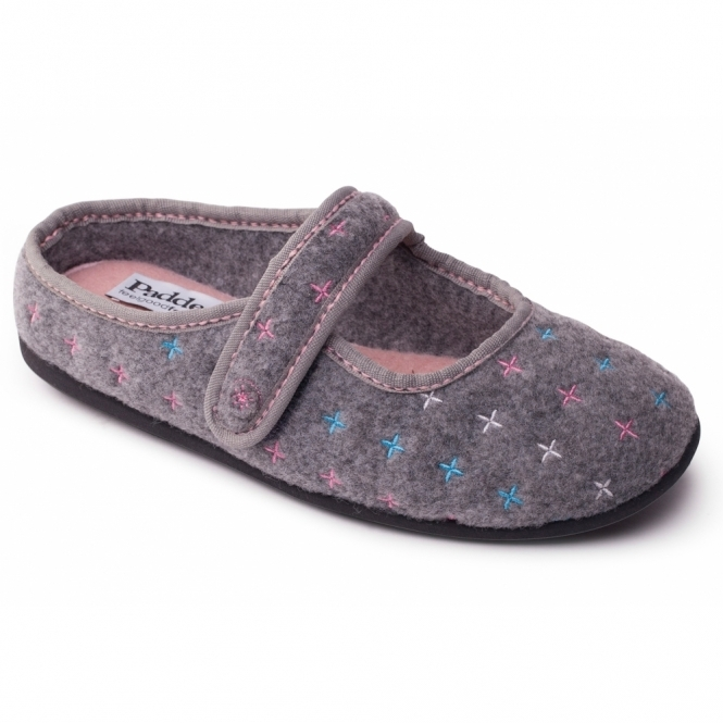 Padders HEIDI Ladies Felt Wide Fit Velcro Slippers Grey