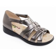 HORIZON Ladies Leather 4E Wide Fit Touch Close Sandals Pewter