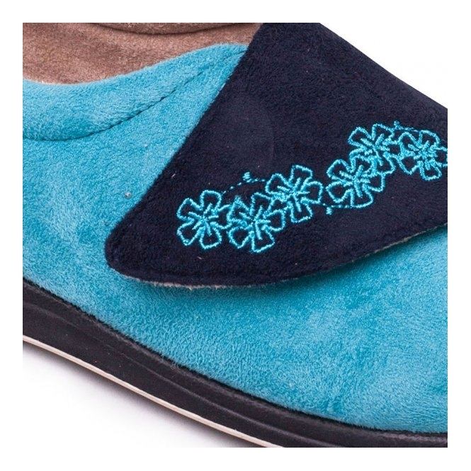 68adc12cfa3 HUG Ladies Microsuede Extra Wide (2E) Slippers Navy Teal