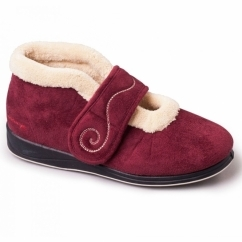 Padders HUSH Ladies Microsuede Extra Wide (2E) Boot Slippers Burgundy
