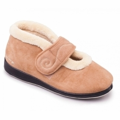 Padders HUSH Ladies Microsuede Extra Wide (2E) Boot Slippers Camel
