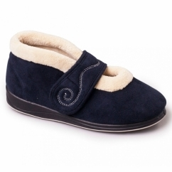 Padders HUSH Ladies Microsuede Extra Wide (2E) Boot Slippers Navy