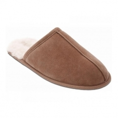 HUSKY Mens Suede Warm Lined Wide Fit Mule Slippers Camel