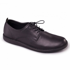 JAKE Mens Leather Lace-Up Wide (G) Casual Shoes Black
