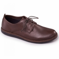 JAKE Mens Leather Lace-Up Wide (G) Casual Shoes Brown