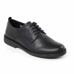 JAMIE Mens Leather Wide Derby Shoes Black