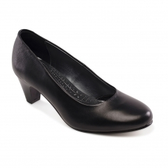 Padders JANE Ladies Leather Extra Wide (2E) Court Shoes Black