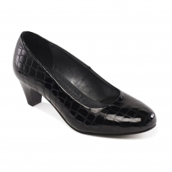 Padders JANE Ladies Leather Extra Wide (2E) Court Shoes Black Patent Croc