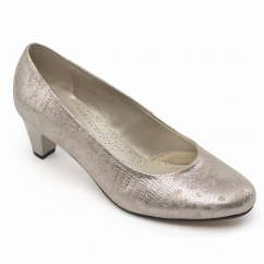 Padders JANE Ladies Leather Extra Wide (2E) Court Shoes Metallic Reptile