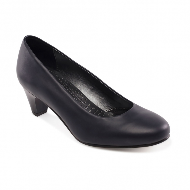 2b98ee7a5e4 JANE Ladies Leather Extra Wide (2E) Court Shoes Navy