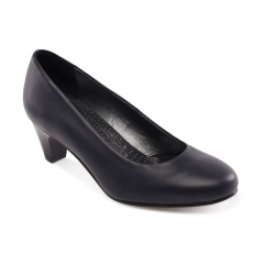 Padders JANE Ladies Leather Extra Wide (2E) Court Shoes Navy