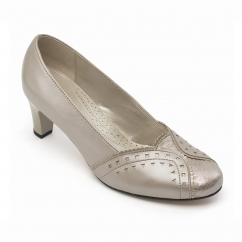 Padders JANET Ladies Leather Wide (E Fit) Court Shoes Stone Pearl