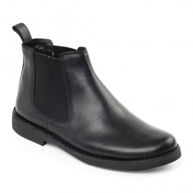 Padders JERRY Mens Leather Wide (G Fit) Chelsea Boots Black