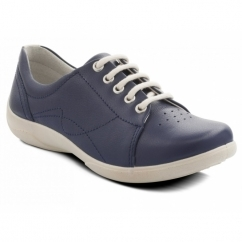 Padders JESSICA Ladies Leather Extra Wide (3E/4E) Shoes Navy
