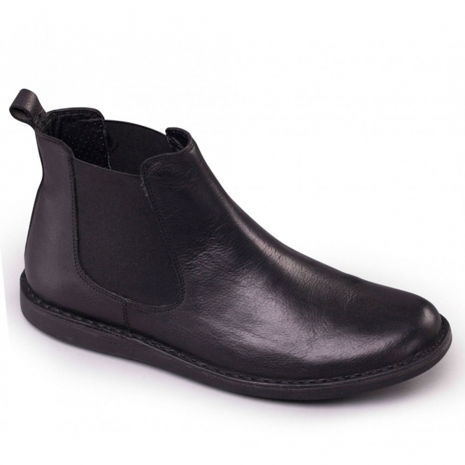 Padders JEZ Mens Leather Wide (G Fit) Chelsea Boots Black