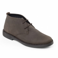 Padders JOE Mens Leather Wide Fit Lace Up Desert Boots Brown