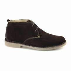JOE Mens Suede Wide Fit Desert Boots Dark Brown